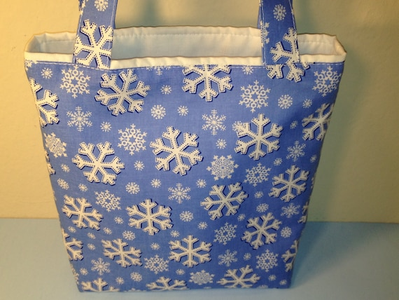 Let It Snow, Gift Tote Bag, Gift Wrap, Reusable, Small Cotton Tote, Winter Holidays, Christmas in July