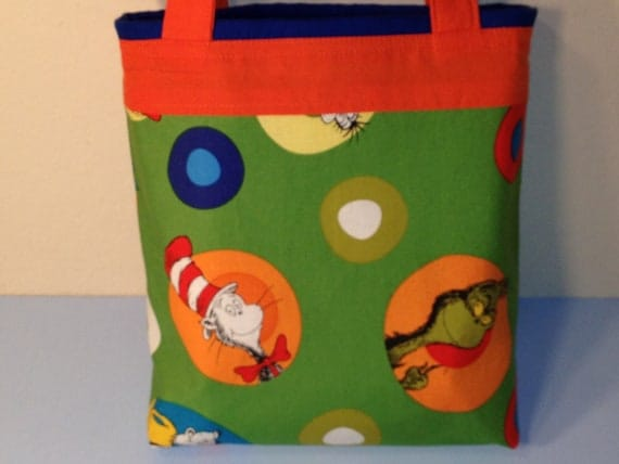 The Cat in the Hat, Grinch, Dr. Seuss Fabric, Gift Tote Bag, Gift Wrap, Birthday, Children, Toddler Toy Tote, Trick or Treat Candy Bag