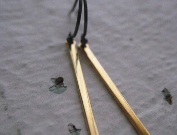 Gold & Silver Stick Earrings, Vintage Bar Drops, Oxidized Sterling Silver Earwires