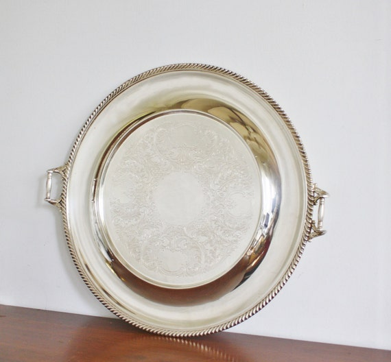 Large silver plated round serving tray with handles