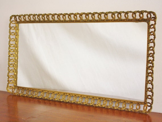 Large Gold Frame Mirror: Large Antique Mirror Vanity Tray With Gold Frame