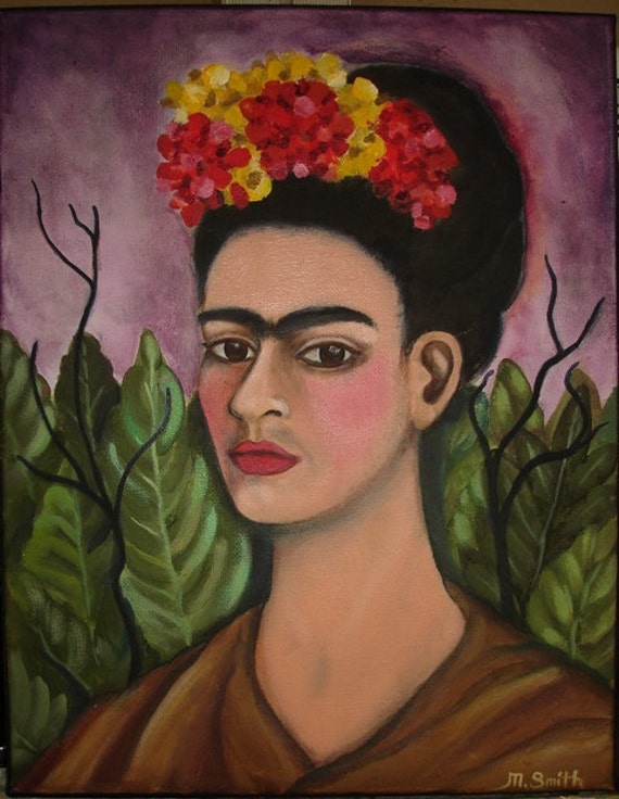 Frida with Leaves and Mexican Flowers