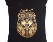 Sugar Owl - Organic Women's Screen Printed Tunic T-shirt Black & Gold