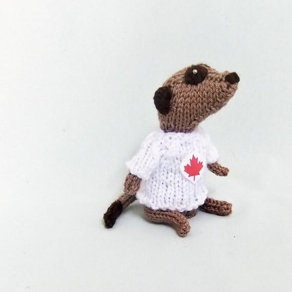 Canadian Meerkat, knitted meerkat, maple leaf sweater, patriotic, meercat, plush, canada