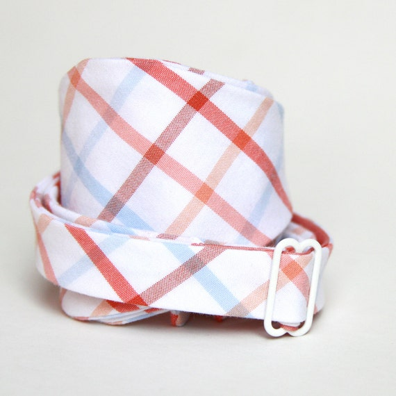 peach and baby blue plaid mens bow tie