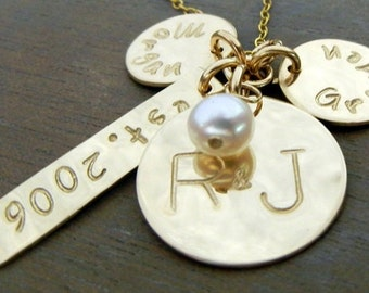 Gold Mothers Necklace, Gold Family Necklace, Personalized Family Charms, Hand Stamped Tags
