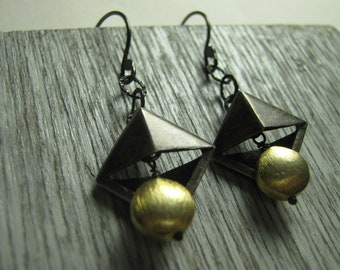 Black Gold Pyramid Dangle Earrings Oxidized Sterling