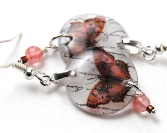 peach butterfly earrings, peachy keen resin earrings , gifts under 20