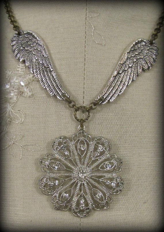 With Brave Wings ...  Inspirational Jewelry - Shabby Chic, Gypsy, Inspirational, French - Vintage Statement Necklace