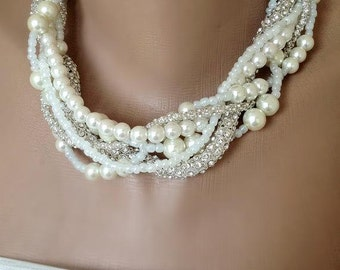 Bridal Pearl Necklace, Pearl Statement Necklace, Ivory Pearl Necklace, Rhinestone Chain Necklace, Bridal Necklace, Braided Pearl Choker