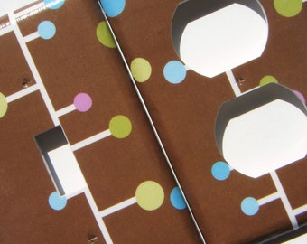 Light Switch Cover and Outlet Cover Set -- Modern Polka Dots on Brown Background