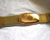 Wide Gold  Segmented Stretchy Cinch Vintage Belt - 25 - 40 inches