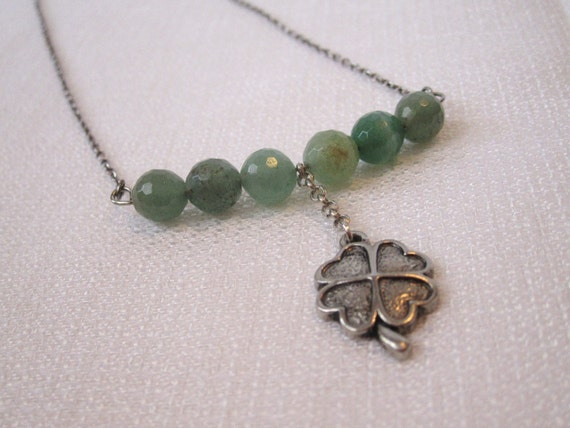 Lots O'Luck 2 - Green Aventurine Stone Necklace with a Cute Little Shamrock