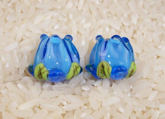 Glass Lampwork Beads, Aqua Blue Rose Buds 476 SRA by CC Design