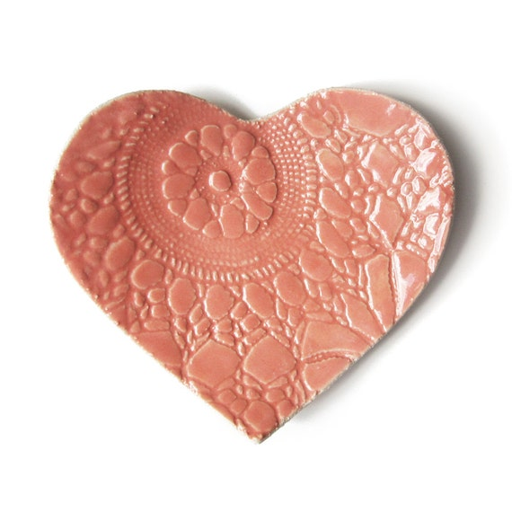 Ceramic plate Coral pink lace heart Stoneware ceramic pottery Candle holder Ring holder Shabby chic Mothers day Wedding Engagement gift