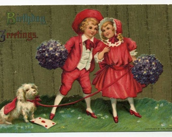 Vintage Birthday Greetings Postcard - Children With Dog - 1911