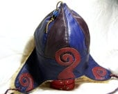 Leather Mongol/ Pointy Hat MongolMation Blue/ Purple with Sheepskin Earflaps