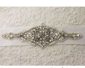 ART DECO rhinestone applique beaded with clear Swarovsky crystals, silver glass beads and rhinestones.