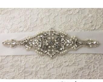 Crystal applique, rhinestone applique, wedding applique, bridal belt applique, wedding sash applique, trim corsage applique