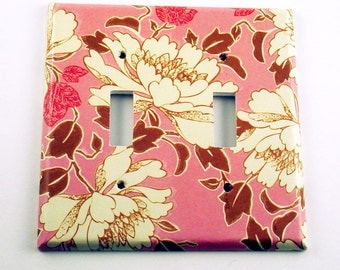 Light Switch Cover Wall Decor Double  Switchplate in Tree Peony Pink (310D)