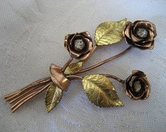 VINTAGE Coro Rhinestone Rose Flower Costume Jewelry Brooch