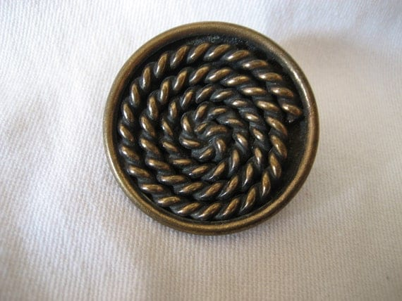 Large VINTAGE Rope Spiral Metal BUTTON