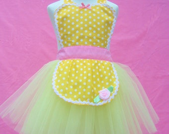 apron BELLE TUTU apron for girls fun for special occasion or birthday party Belle dress up costume