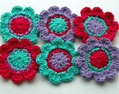 Crochet Flower Motifs x 6 in Hot Pink, Purple and Aqua
