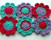 Crochet Flower Motifs x 6 in Hot Pink, Purple and Aqua