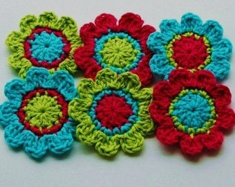 Crochet Flower Motifs x 6 in Hot Pink, Lime, Turquoise