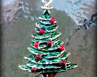 Red and Green enamel Gold finished Christmas Tree Charm