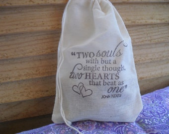 Favor Bags - SET OF 10 Love Quote 4x6 Muslin Favor Bags Gift Bags or Candy Bags - Item 1423