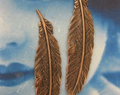 Copper Ox Plated Small Bird Feather Stampings 721COP x2