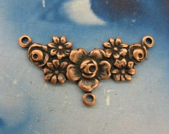 Copper Ox Plated Floral Brass Connectors  654COP x2