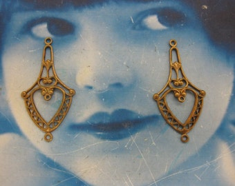 Natural Raw Brass Filigree  Connector Earring Dangles 486RAW  x2