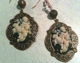 Steampunk Fantasy Victorian Angel Cameo Earrings