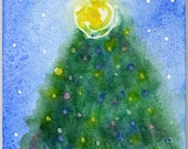SALE Wee Holiday Glow - 4in x 6in watercolor christmas tree with a hint of glitter