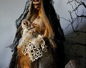 Halloween skeleton mother and child sculpture OOAK doll