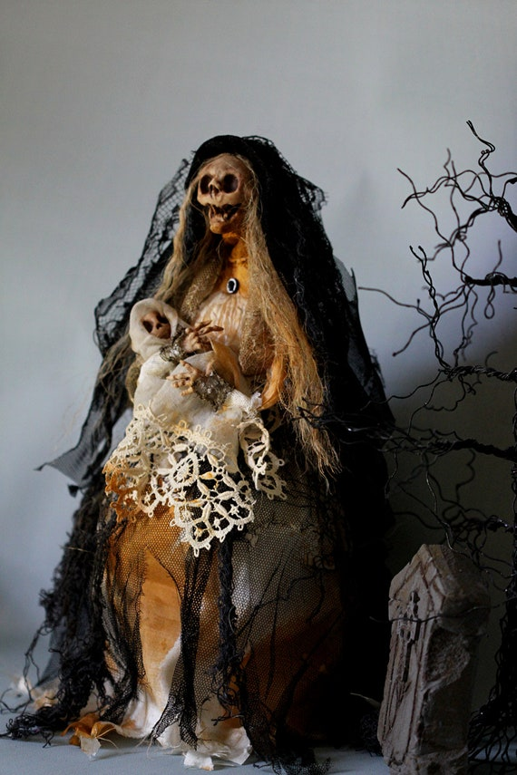 Halloween skeleton mother and child sculpture OOAK doll