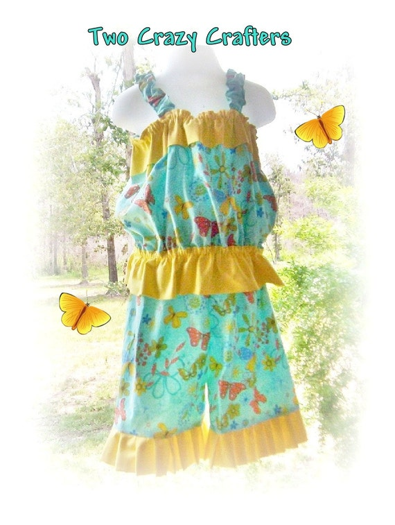 SALE - Girls Bubble Top and Capri Pants Set  - Teal and Yellow -  Size 5