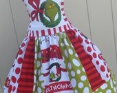 Made to Order Custom Boutique Dr Seuss Grinch Christmas Dress Girl Sizes 3 4 5 6 7 8