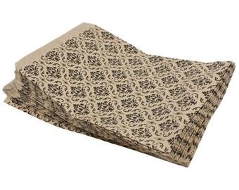 100 Pack 4 X 6 Inch kraft Color Damask print Flat Paper Merchandise Bags
