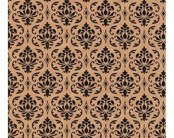 100 Pack 8 X 10 Inch kraft Color Damask print Flat Paper Merchandise Bags
