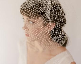 Bridal birdcage veil, French net blusher veil  819