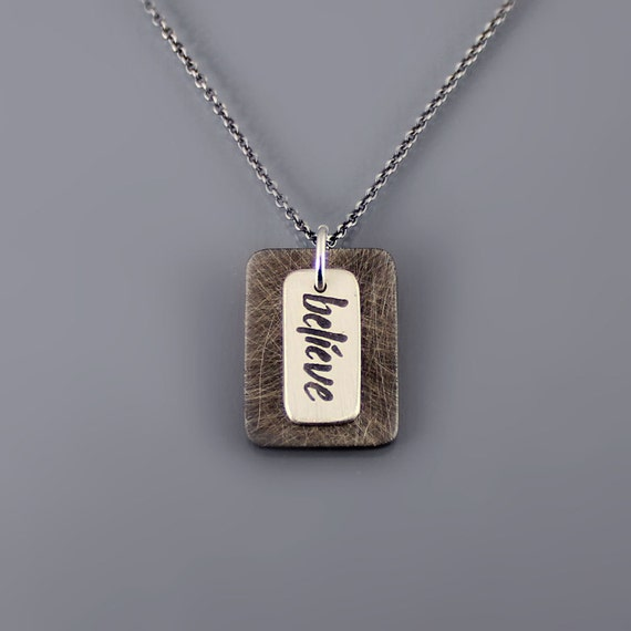 Layered Believe Necklace - Etched Sterling Silver