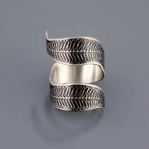 Curled Fern Ring, etched sterling silver ring, wrap ring, botanical ring, botanical jewelry
