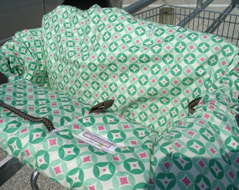 Shopping Cart cover  or High Chair cover for girl.....Sweet Nothing Diamonds in Green......