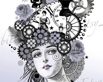 "Steampunk Digital Art Collage  ""Henrietta"" Purple/Leopard/Key"