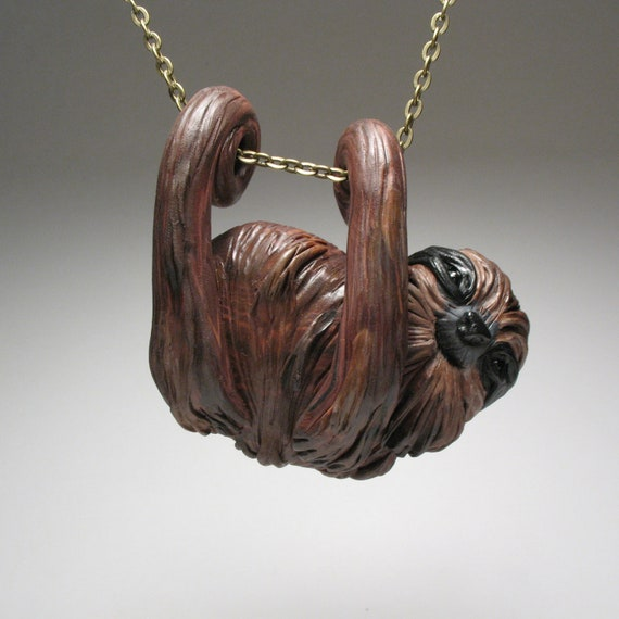 Smiling Sloth Necklace - Wearable Art Sculpture