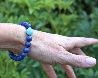 Grade A/B Lapis Lazuli Mala Bracelet with Amazonite & Sterling Silver - Meditation and Harmony